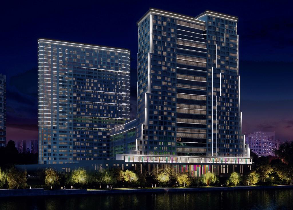 Многофункциональный жилой комплекс, ЖК Утесов, Карамышевская набережная, Проектируемый проезд, концепция, общий вид, вечерняя подсветка