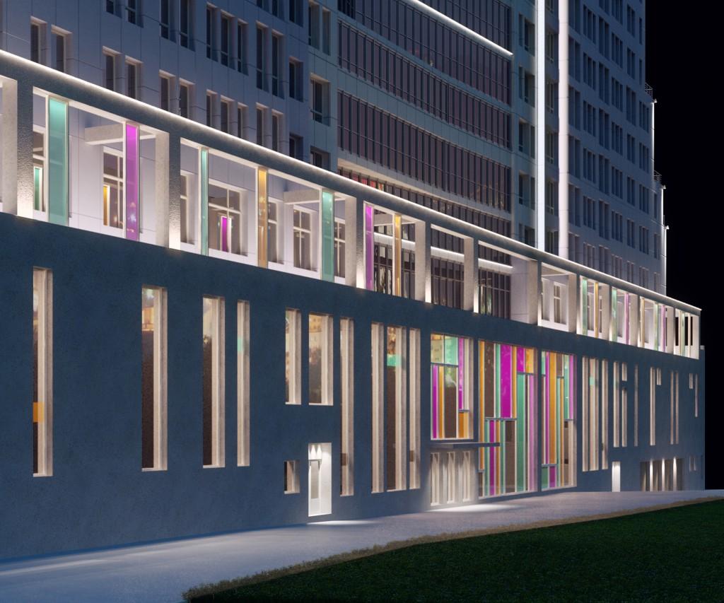 Многофункциональный жилой комплекс, ЖК Утесов, Карамышевская набережная, Проектируемый проезд, концепция, входная группа, подсветка