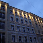 Жилой комплекс Печатников, Печатников переулок, вечерний фасад