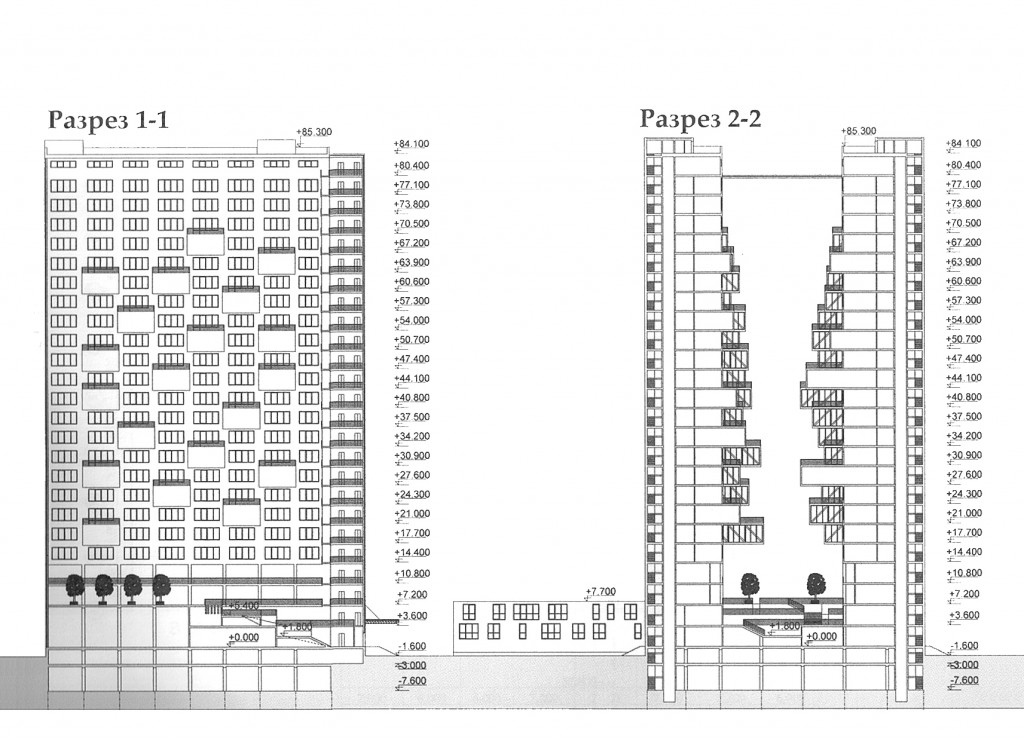 Гостиничный комплекс, улица Пришвина, концепция, разрез