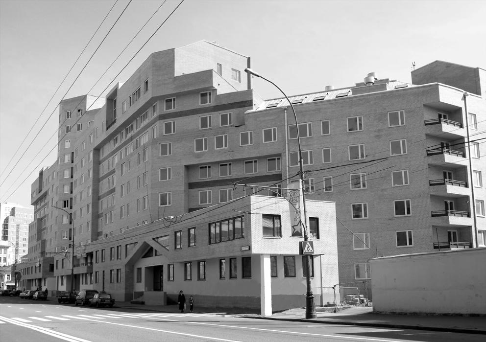 Жилой дом, Таганская 26, черно-белое фото, фасад, общий вид здания