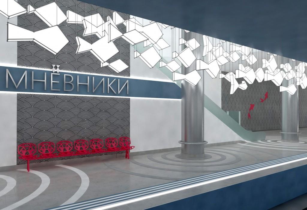 The concept of architectural solutions to the metro station «Nizhnie Mnevniki»